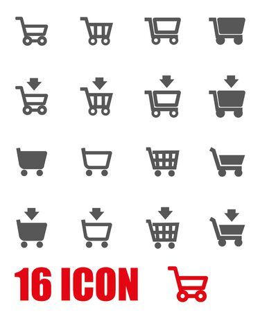 internet buttons: Vector grey shopping cart icon set  on white background Illustration