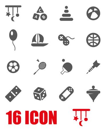 juguetes: Vector juguetes grises conjunto de iconos en el fondo blanco