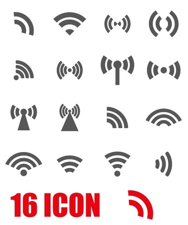 wireless internet: Vector grey wireless icons  set on white background Illustration