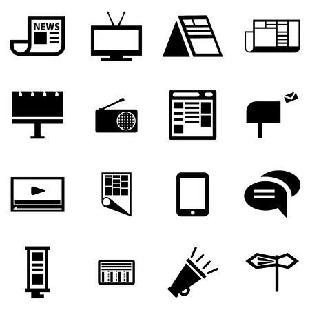 Vector black advertisement icon set on white background