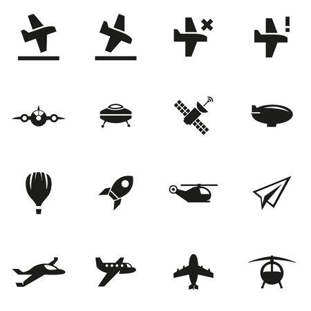 paper airplane: Vector black airplane icon set on white background Illustration