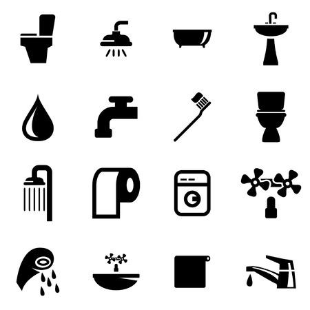 bathroom: Vector baño negro conjunto de iconos en el fondo blanco Vectores