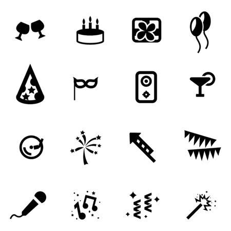 party pastries: Vector black birthday icon set on white background