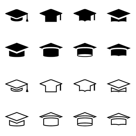 mortar board: Vector black academic cap icon set on white background