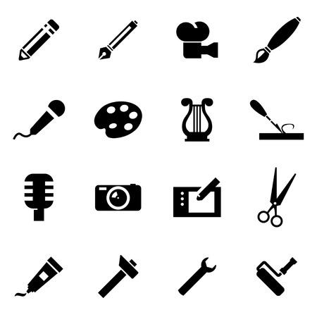 Vector black art tool icon set on white background