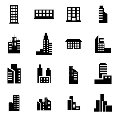 buildings: Vector black building icon set on white background Illustration