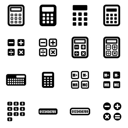 Vector black calculator icon set on white background