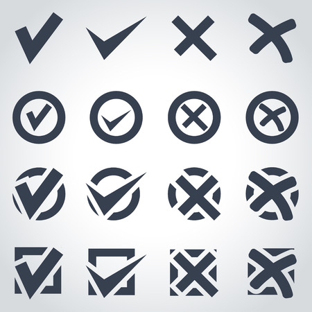 Vector black check marks icon set on grey background Illustration