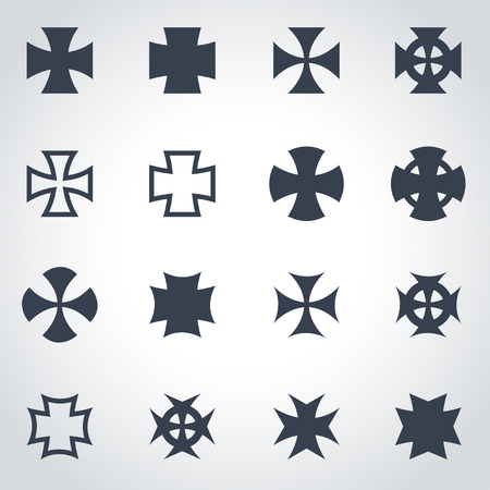 iron cross emblem: Vector black choppers crosses icon set on grey background