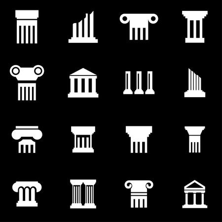 greek column: Vector white column icon set on black background