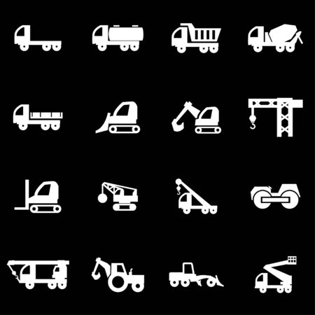 transport icon: Vector white construction transport icon set on black background Illustration