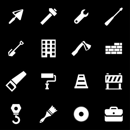 construction icons: Vector white construction icon set on black background
