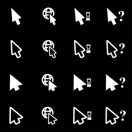 cursor: Vector white cursor  icon set on black background Illustration