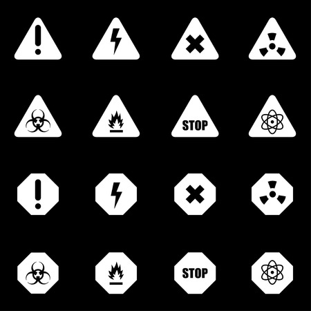 dangers: Vector white danger icon set on black background Illustration