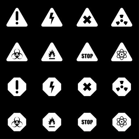 danger: Vector white danger icon set on black background Illustration