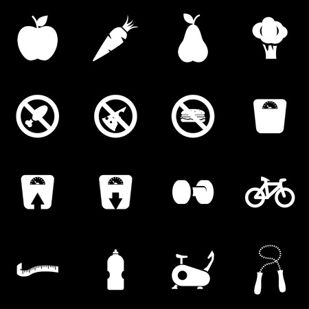 to the diet: Vector white diet icon set on black background