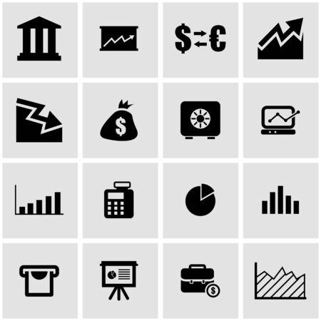 economic: Vector black economic  icon set on grey background
