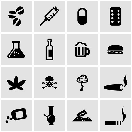 drugs pills: Vector black drugs  icon set on grey background