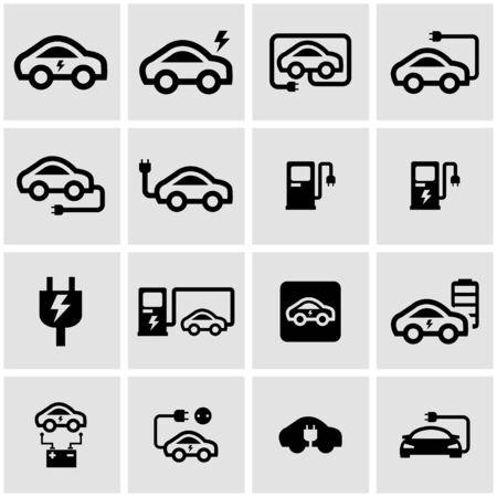 electric car: Vector black electric car icon set on grey background Illustration