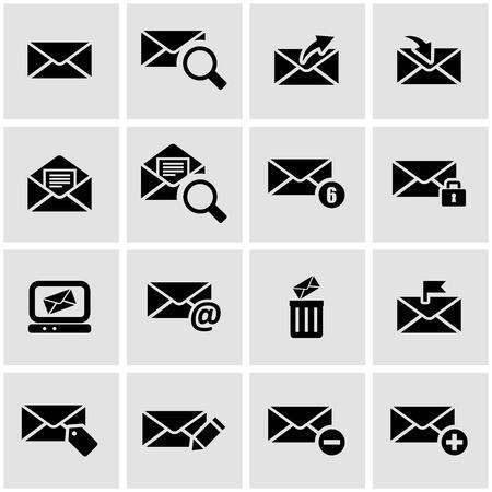 correo electronico: Vector icono de correo electr�nico establecido negro sobre fondo gris Vectores