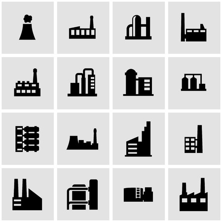 industrial buildings factory: Vector black factory icon set on grey background