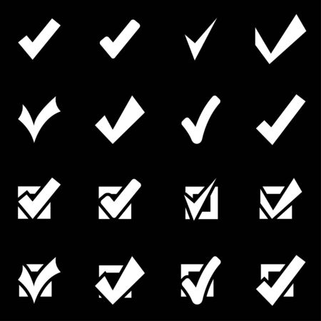 architectural styles: Vector white confirm icon set on black background Illustration