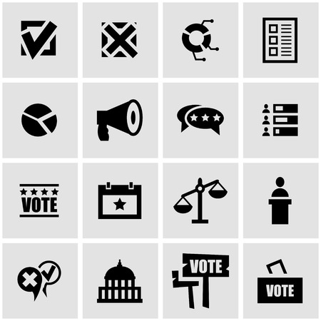 election: Vector black education icon set on grey background