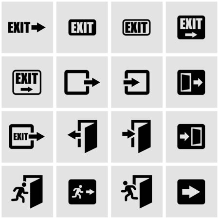 green exit emergency sign: Vector black exit icon set on grey background