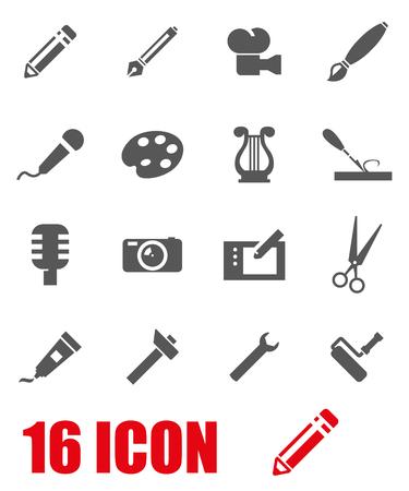 maintenance work: Vector grey art tool icon set on white background Illustration