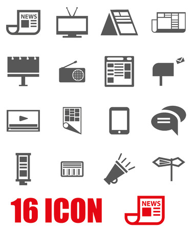 commercials: Vector grey advertisement icon set on white background Illustration