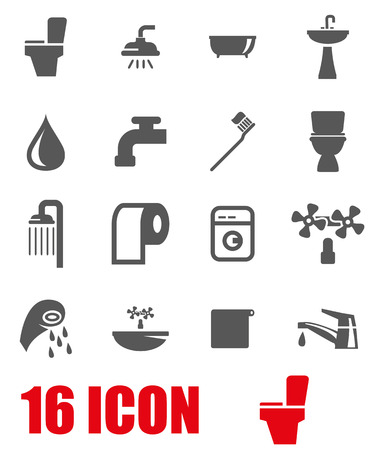 bathroom: Vector grey bathroom icon set on white background Illustration