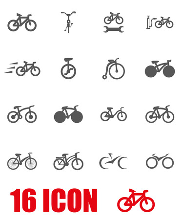 bicycles: Vector grey bicycle icon set on white background Illustration