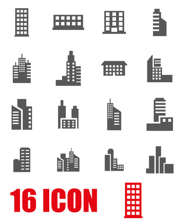 architecture and buildings: Vector grey building icon set on white background Illustration