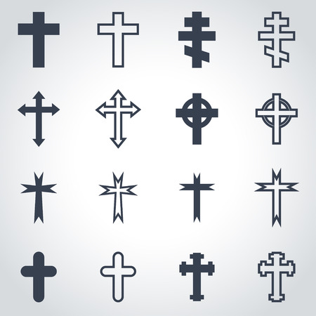 cross: Vector black crosses icon set on grey background Illustration