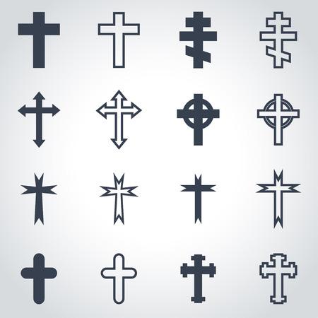 cruz religiosa: Vector cruces negras conjunto de iconos sobre fondo gris