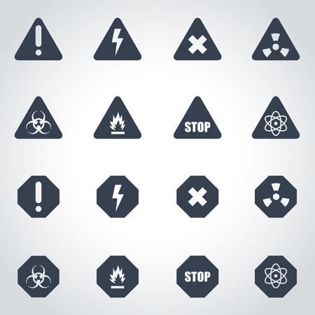 Vector black danger icon set on grey background