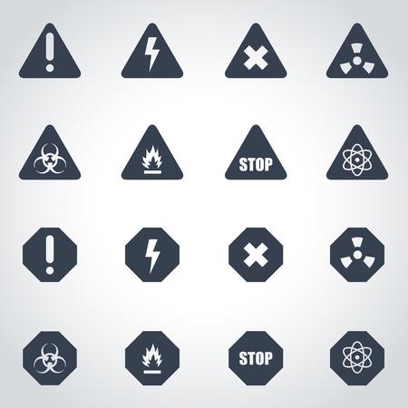 peligro: Vector icono de peligro negro situado en el fondo gris