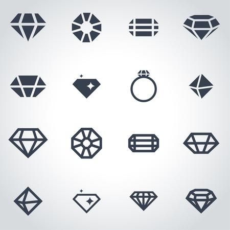 diamante negro: Vector icono de diamante negro situado en el fondo gris