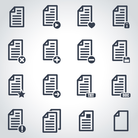 document icon: Vector black documents  icon set on grey background