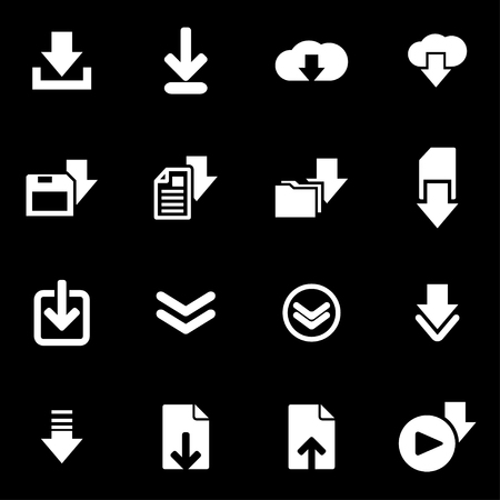 downloads: Vector white download  icon set on black background