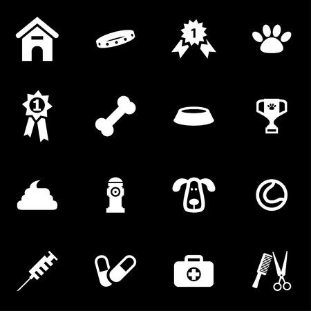 dog leash: Vector white dog  icon set on black background