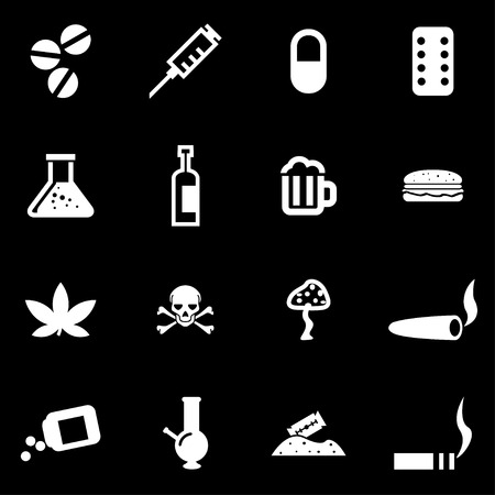 drugs pills: Vector white drugs  icon set on black background Illustration