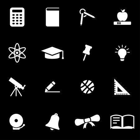 教育: 黑色背景上的矢量白色的教育圖標集 向量圖像