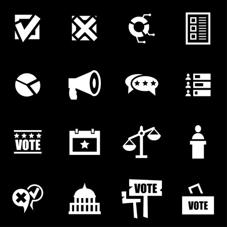 congress: Vector white education icon set on black background