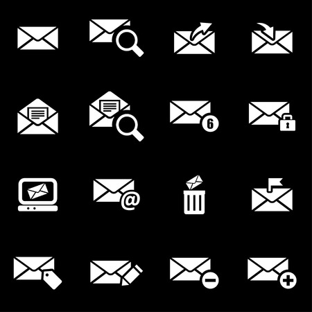 email envelope: Vector white email icon set on black background