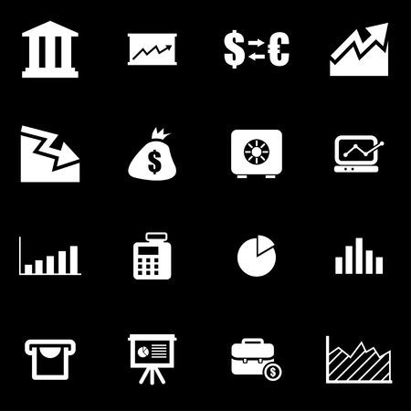 economic: Vector white economic  icon set on black background Illustration