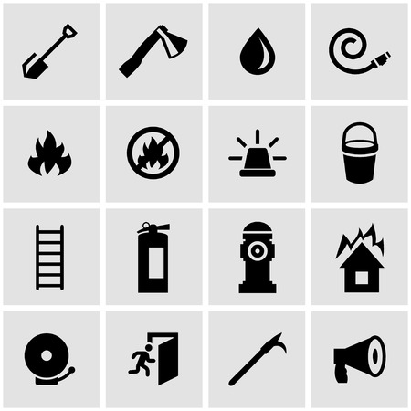 bombero: Vector icono de bombero negro ajustado sobre fondo gris