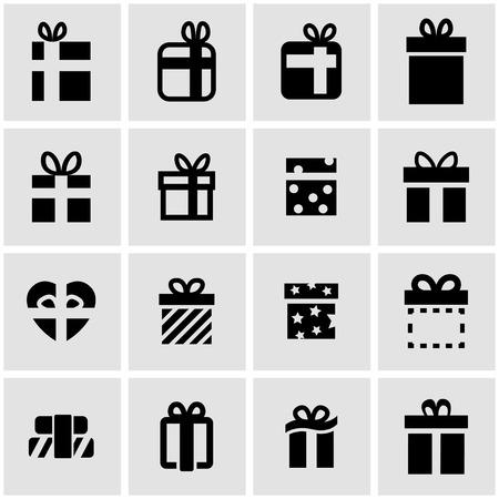christmas present: Vector black gift icon set on grey background Illustration