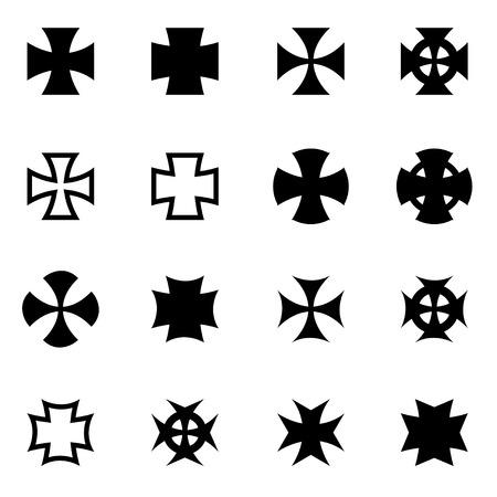 Vector schwarz Chopper kreuzt Icon-Set auf weißem Hintergrund