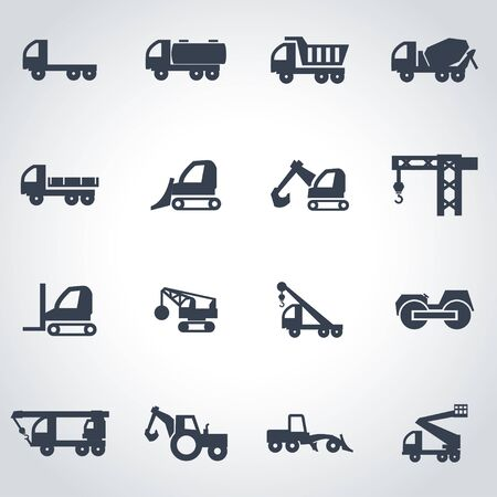 icona trasporti: Vector black construction transport icon set on grey background
